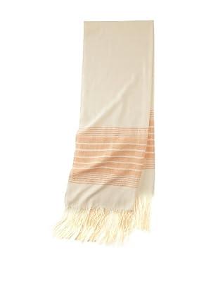 Mili Designs Women's Essouria Striped Cotton Scarf (Cream/CORAL)