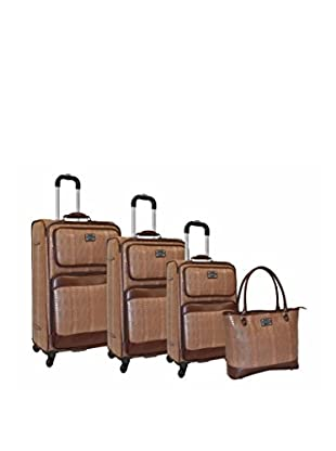 Adrienne Vittadini Croco 4-Piece Luggage Set, Taupe