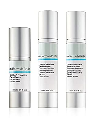 MD FORMULA  Beauty-Set 3 tlg. Coldtox Pro-Active Facial Serum, Coldtox Pro-Active Day Moisturizer, Night Moisturizer