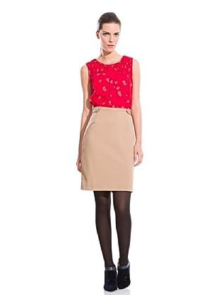 Cortefiel Vestido Mixto Punto Abeja (Rojo / Tostado)
