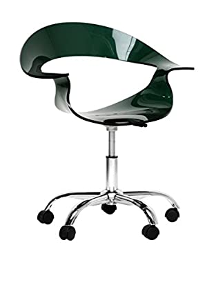 Baxton Studio Elia Acrylic Modern Swivel Chair, Steel/Deep Green