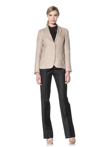 Luciano Barbera Women's Two-Button Linen Jacket (Beige)