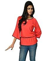 9Rasa Womens Cotton Tunic Kurta (9Rasa-Tp-120-L _Orange _Large)
