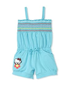Hello Kitty Girl's 2-6X Shirred Romper with Applique Patch (Blue)