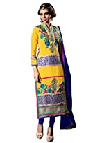 Vibes Womens Georgette Patch Work Straight Unstitched Dress Material (V180-11009 _Yellow)