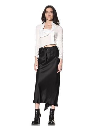Ann Demeulemeester Women's Satin Button-Panel Skirt (Black)
