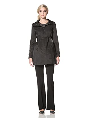 Via Spiga Women's Belted Trench with Removable Hood (Black)