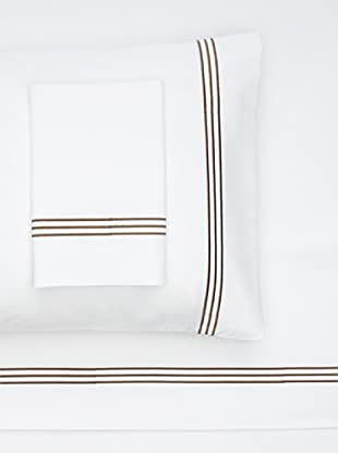 Nine Space Embroidered Sheet Set (White/Brown)