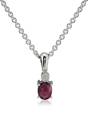 Divas Diamond Set Kette und Anhänger Diamond Ruby Sterling-Silber 925
