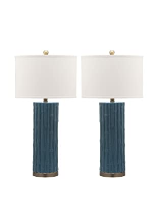 Safavieh Set of 2 Bamboo Column Table Lamps, Light Blue