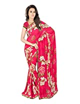 Sonal Trendz Red Color Printed Saree. Weightless Fabric Printed Saree with Lace & Blouse. Festive Wear.