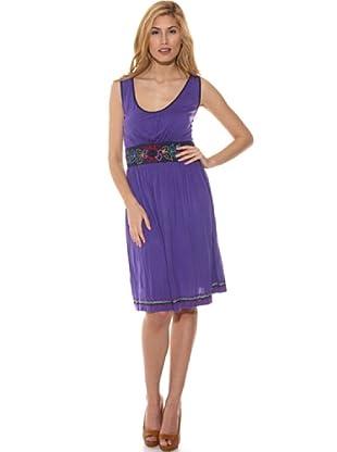 Peace & Love Vestido Liso Crochet (Púrpura)