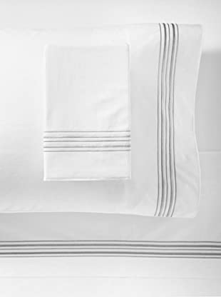 Mason Street Textiles Hotel Piping Sheet Set (White/Steel)