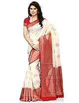 Meghdoot Artificial Kanchipuram Silk Saree (VINDHYA_2410_CREAMxRED Traditional Cream and Red Colour Sari)