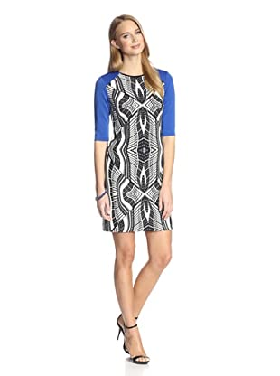 Donna Morgan Women's Printed Shift Dress (Black/White/Cosmic Blue)