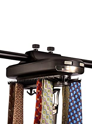 Honey-Can-Do Battery Powered Revolving Tie & Belt Organizer, Black