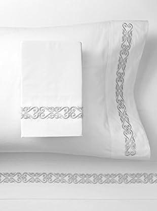 Dea Nicoletta Embroidered Sheet Set (White/Grey)
