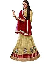 Melluha Women's Net Lehenga Choli(ml-0062_Beige_Free Size)