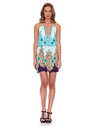 Peace & Love Vestido Estampado (Azul / Blanco)