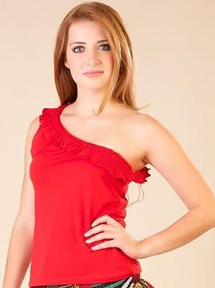 By Basi Camiseta Asimétrica (Rojo)