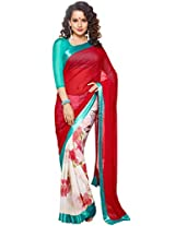 Amaranth Red and Off-white Faux Georgette Printed Party Saree