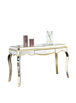 Camille Mirrored Desk, Gold Leaf