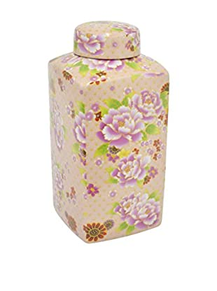Three Hands Floral Print Ceramic Jar
