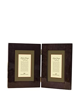 Philip Whitney Double Light Burl Wood Frame (Dark Brown)