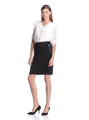 Calvin Klein Women's Ruffle Front Top (Eggshell)