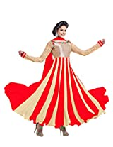 Clickedia Womens Faux Georgette Anarkali Salwar Suit Set (Red Cream _Red Cream _Free Size)
