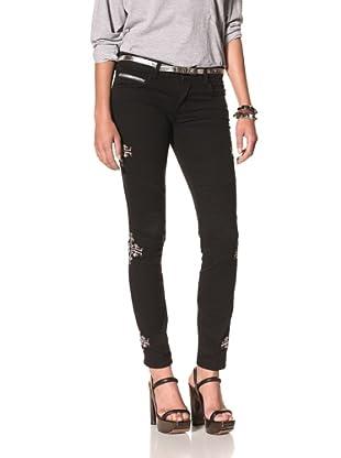 Rockstar Women's Biker Twill Jean (Navajo Embroidery Black)