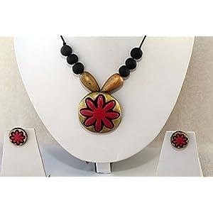 Anikalan Designs Pink Flower Pendant Terracotta Necklace Set
