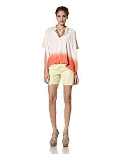 Gypsy 05 Women's Audry Button Front Silk Top (Gold/Coral)