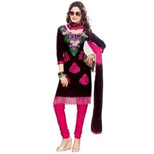 SGC- Black & Pink Cotton unstitched Churidar Kameez with dupatta- SV-5106