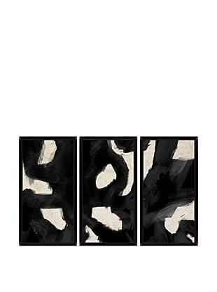 Contemporary Black Swirl Giclée Triptych Box