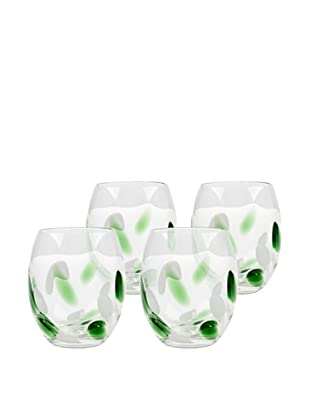 Cloud Rocks Hand-Crafted Glass, Green, Set of 4