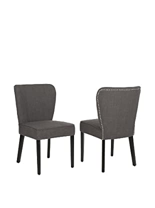 Safavieh Set of 2 Clifford Side Chairs, Charcoal Brown