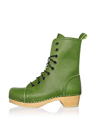 Swedish Hasbeens Women's Lace-Up Low Ankle Boot (Green)