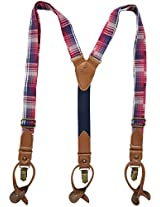 Tommy Hilfiger Men's 35mm Fabric Plaid Suspenders, Red Plaid, One Size