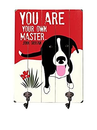 Artehouse You Are Your Own Master Leash Hanger, Red/Black/White