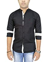 AA' Southbay Men's Black Linen Cotton Mandarin Collar Long Sleeve Solid Casual Party Shirt