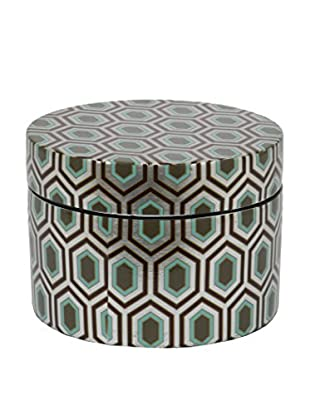 Three Hands Round Geometric Ceramic Box with a Lid, Green/Silver