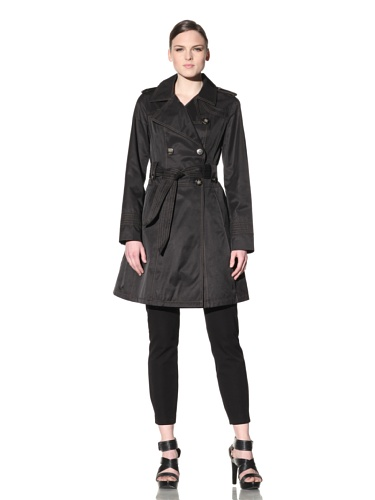 Laundry by Shelli Segal Women's Double-Breasted Belted Flare Skirt Trench (Black)