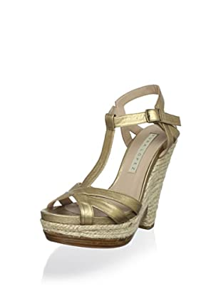 Pura López Women's T-Strap Wedge Heel (Napa Metal 020)