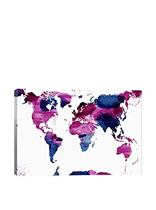 Watercolor World Gallery Wrapped Canvas Print
