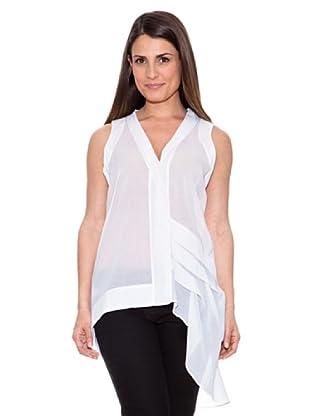 Caramelo Blusa Transparente Asimétrica (Blanco)