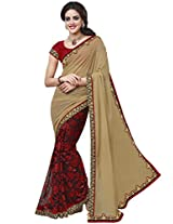Manvaa Half & Half Georgette Embroidered Party Wear Saree
