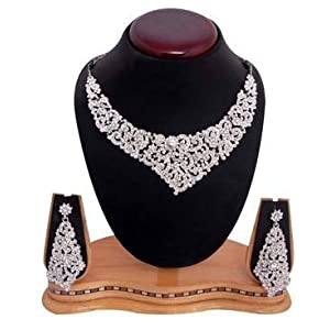 Sukkhi youthful rodium plated ad stone neclace set 1001v