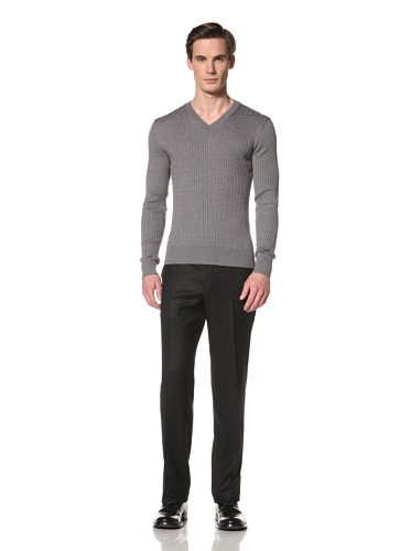 Corneliani Men's V-Neck Cabled Sweater (Grey)