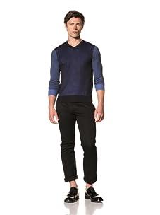 Pringle of Scotland Men's V-Neck Long Sleeve Double Layer Knit (Navy/Sea Blue)